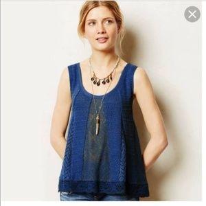 Meadow Rue | Crochet Navy Blue Knitted Tank Top M